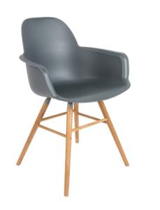 Zuiver - Albert Kuip stoel met armleuningen  - Donker grijs
